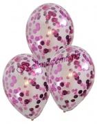 Konfetti Luftballons transparent mit Konfetti in Pink