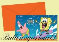 Einladungskarten zum Kindergeburtstag mit Umschlag, Spongebob, 6 Stück