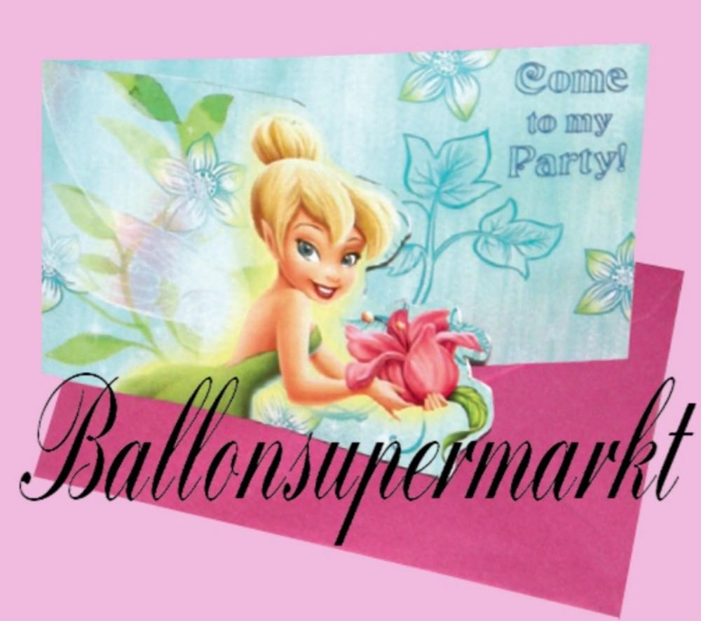 Einladungskarten Zum Kindergeburtstag Mit Umschlag, Tinkerbell, 8 Stück