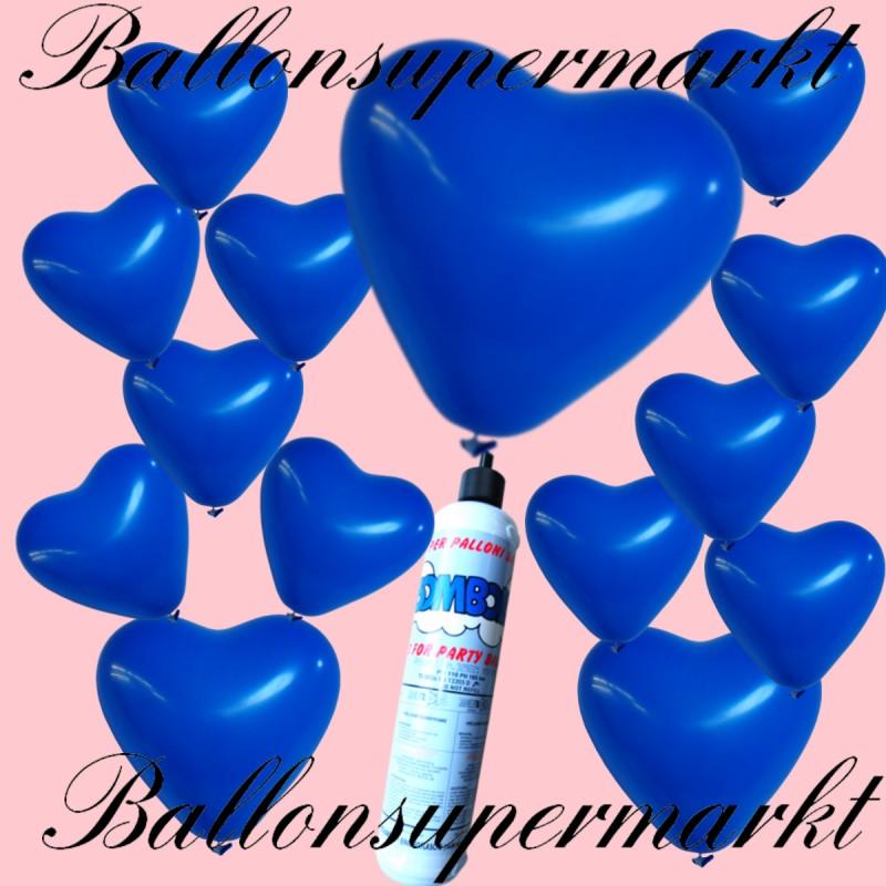 luftballons helium set miniflasche herzluftballons in blau lu luftballons helium mini set. Black Bedroom Furniture Sets. Home Design Ideas