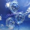 Konfetti-Luftballons, Jumbo, 45 cm, Blau, 3 Stück