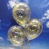 Konfetti-Luftballons, Jumbo, 45 cm, Gold, 3 Stück