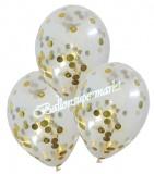 Konfetti Luftballons transparent mit Konfetti in Gold