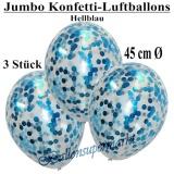 Konfetti-Luftballons, Jumbo, 45 cm, Hellblau, 3 Stück