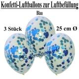 Konfetti-Luftballons zur Luftbefüllung, 25 cm, Blau, 3 Stück