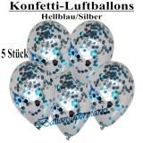 Konfetti-Luftballons, 30 cm, Hellblau/Silber, 5 Stück
