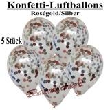 Konfetti-Luftballons, 30 cm, Rosegold/Silber, 5 Stück