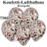 Konfetti-Luftballons, 30 cm, Rosegold, 5 Stück