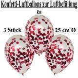 Konfetti-Luftballons zur Luftbefüllung, 25 cm, Rot, 3 Stück