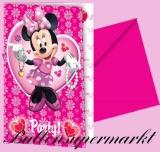 Einladungskarten zum Kindergeburtstag mit Umschlag, Mini Maus, 6 Stück